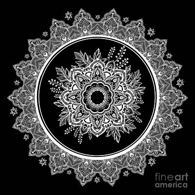 Digital Art - Bohemian Lace Paisley Mandala White On Black by Sharon Mau