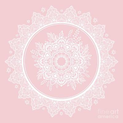 Photograph - Bohemian Lace Paisley Mandala White On Pink by Sharon Mau