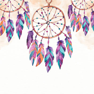 Digital Art - Boho Dreamcatcher - Boho Chic Ethnic Nursery Art Poster Print by Dadada Shop