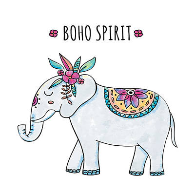 Digital Art - Boho Spirit Elephant - Boho Chic Ethnic Nursery Art Poster Print by Dadada Shop