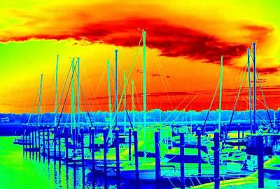 Photograph - Bold Neon Marina by Cynthia Guinn
