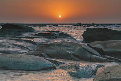 Photograph - Bold Orange Rocky Coastal Sunrise by Merrillie Redden