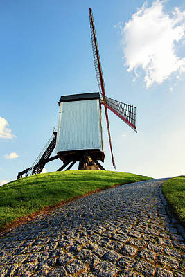 Photograph - Bonne Chiere Windmill Bruges Belgium by Nathan Bush