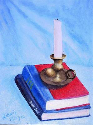 Vesna Antic Abstract Paintings - Books and Candle by Laurie Morgan