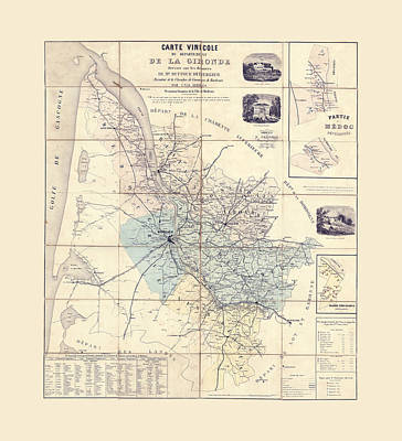 Photograph - Bordeaux Wine Map 1856 by Andrew Fare