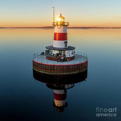 Photograph - Borden Flats Lighthouse, Fall River, MA by Petr Hejl Photoflight Aerial Media