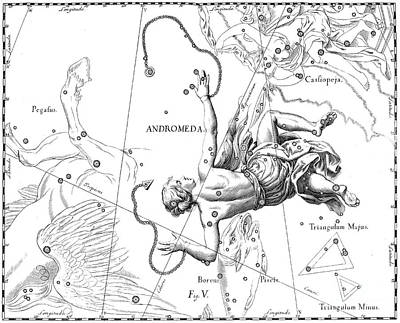 Drawing - Boreal Constellation Of Andromeda by Johann Hevelius