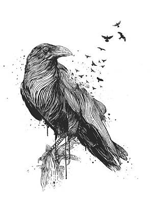 Ink Drawing Drawing - Born To Be Free  by Balazs Solti