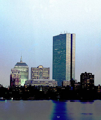 City Sunset Mixed Media - Boston At Dusk by Charles Shoup