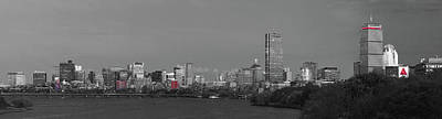 Photograph - Boston Black And White Panorama Selective Color by Juergen Roth