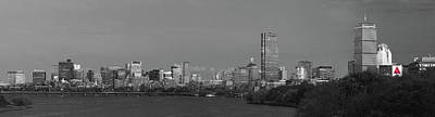 Photograph - Boston Black And White Panorama Selective Colors by Juergen Roth