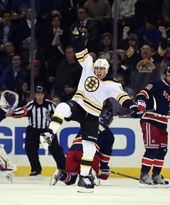 Scoring Photograph - Boston Bruins V New York Rangers by Bruce Bennett
