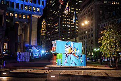 Photograph - Boston City Hall Plaza Boston Ma Hub Week Blue by Toby McGuire