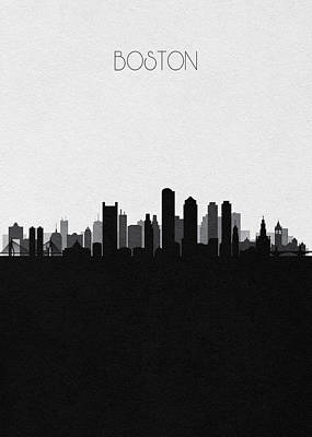 Digital Art - Boston Cityscape Art V2 by Inspirowl Design