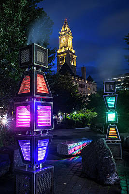 Photograph - Boston Colored Steam Lights Boston Ma Rose Kennedy Greenway by Toby McGuire
