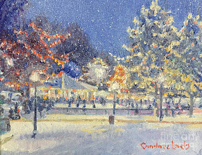 Painting - Boston Common Twilight Skaters by Candace Lovely