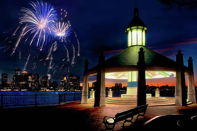 Photograph - Boston Harbor Fireworks - Piers Point Park by Joann Vitali