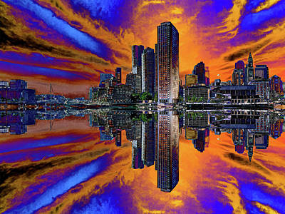 Digital Art - Boston Harbor Psychedelic Flip by Gordon Engebretson