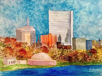 Painting - Boston In Autumn by Anne Sands