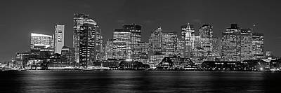 Photograph - Boston Lit Up For Christmas Panorama Boston Ma Boston Skyline Black And White by Toby McGuire