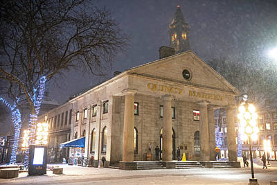 Photograph - Boston Ma Faneuil Hall In The Winter Snowstorm by Toby McGuire