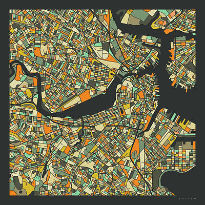 Boston Wall Art - Digital Art - Boston Map 2 by Jazzberry Blue