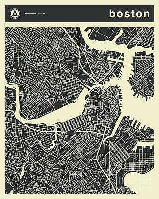 Boston Wall Art - Digital Art - Boston Map 3 by Jazzberry Blue