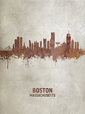 Digital Art - Boston Massachusetts Rust Skyline by Michael Tompsett