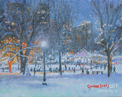 Painting - Boston Night Skaters by Candace Lovely