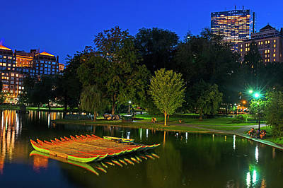 Photograph - Boston Public Garden Green Boats At Dusk Reflection by Toby McGuire