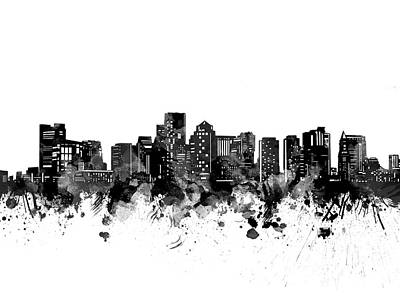 Abstract Skyline Royalty-Free and Rights-Managed Images - Boston Skyline Bw by Bekim M