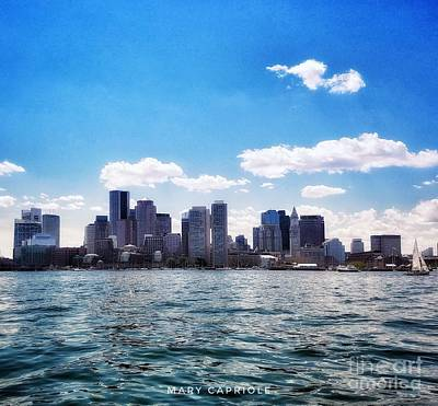 Photograph - Boston Skyline From Boston Harbor  by Mary Capriole