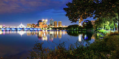 Royalty-Free and Rights-Managed Images - Boston Skyline Panorama and Charles River at Dawn by Gregory Ballos