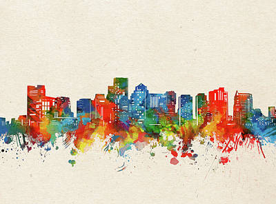 Abstract Skyline Royalty-Free and Rights-Managed Images - Boston Skyline Watercolor by Bekim M