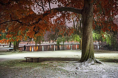 Photograph - Boston Snowfall In The Boston Public Garden Boston Ma Autumn Tree by Toby McGuire