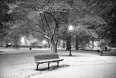 Photograph - Boston Snowfall In The Boston Public Garden Boston Ma Black And White by Toby McGuire