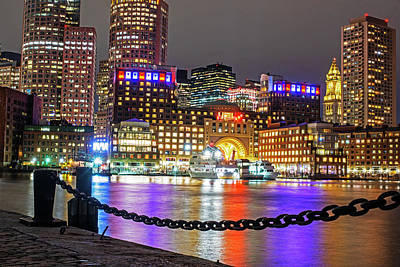 Photograph - Boston Waterfront In Red White And Blue Boston Ma by Toby McGuire