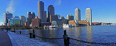 Photograph - Boston Waterfront Panorama Boston Ma Boston Harbor by Toby McGuire