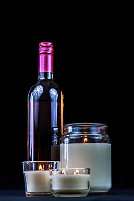 Photograph - Bottle Of Wine And Lit Candles by Jeanette Fellows
