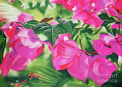 Tropical Flowers Painting - Bougainvillea by John Clark