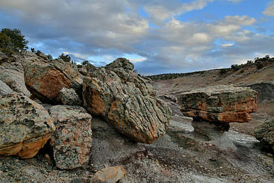 Photograph - Boulders In Blm Bentonite Site At Sunset by Ray Mathis