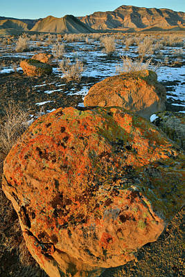 Photograph - Boulders On Fire At Sunset In Book Cliffs by Ray Mathis