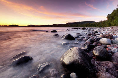 Photograph - Boulders On The Rocky Shore At by Ron Erwin