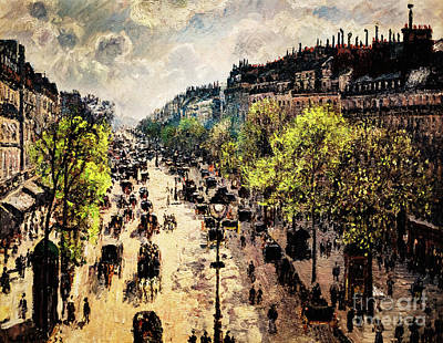 Painting - Boulevard Montmartre Spring Morning by Camille Pissarro