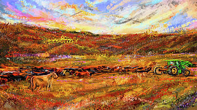 Painting - Bountiful Bovine - Everton, Arkansas by Lourry Legarde