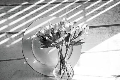 Photograph - Bouquet And Plate-bw by Jennifer Wick