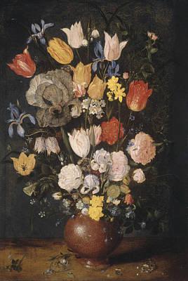 Painting - Bouquet Of Flowers In An Earthenware Vase by Jan Brueghel The Elder