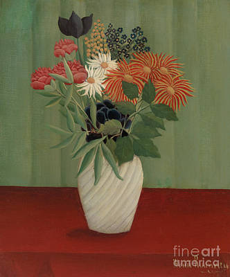 Painting - Bouquet Of Flowers With China Asters And Tokyos, 1910 by Henri Rousseau
