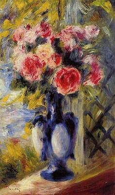Curated Beach Towels - Bouquet of Roses in a Blue Vase by Pierre Auguste Renoir