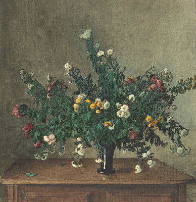 Drawing - Bouquet Of Small Chrysanthemums by Leon Bonvin